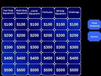 Algebra I Jeopardy (EQUATIONS)