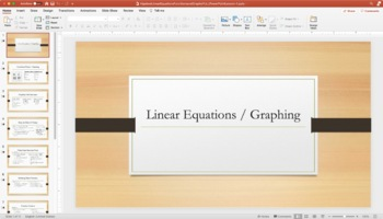 Algebra I- Linear Equations, Functions, and Graphs FULL PowerPoint Lesson