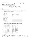 Algebra I -  Linear Equations Notes - Point Slope Form