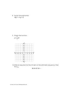 Algebra I Math Diagnostic