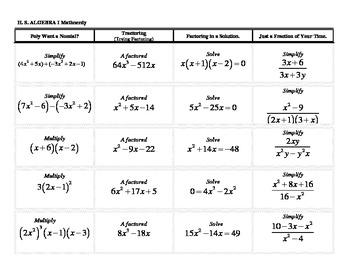 Algebra I Mathnerdy, 20 Jeopardy columns,template,ACT,SAT,Graduation Test