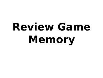 Algebra I Memory Card Game