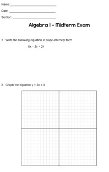 Algebra I Midterm Exam Assessment