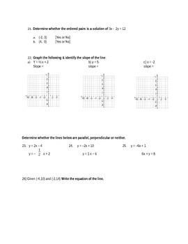 Algebra I Part 2 Mid-term (advanced)