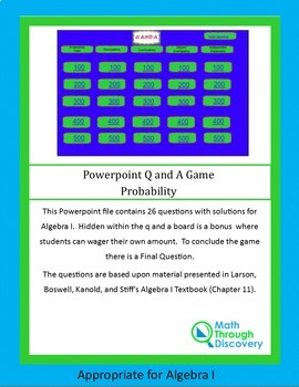 Algebra I: Powerpoint Q and A Game - Probability