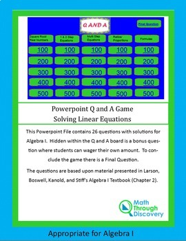 Algebra I: Powerpoint Q and A Game - Solving Linear Equations