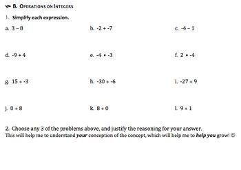 Algebra I Pre-Assessment