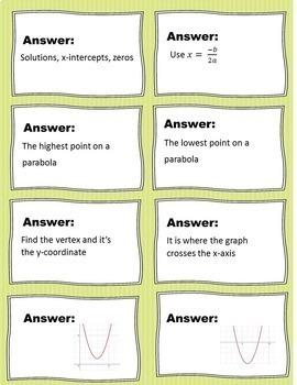 Algebra I Quadratic Questions Mini Task Cards