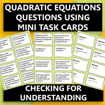 Algebra 1 Quadratic Questions Mini Task Cards