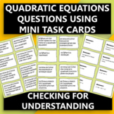 Algebra I Quadratic Questions Mini Task Cards