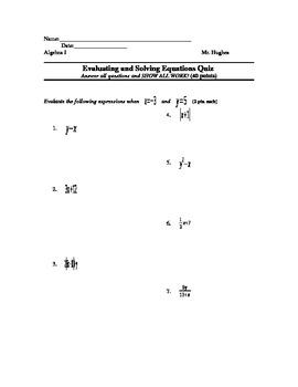 Algebra I Quiz – Evaluating and Solving Equations Quiz