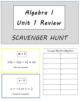 Algebra I Review for Unit 1