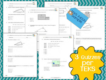 STAAR Practice-Quizzes, Algebra I, All New TEKS and All Categories INCLUDED