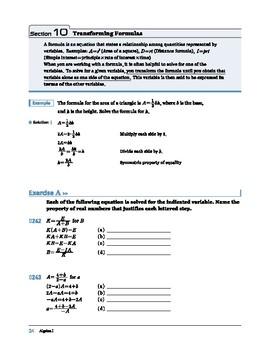 Algebra I: Section 10: Transforming Formulas