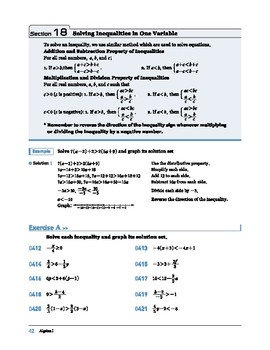 Algebra I: Section 18: Solving Inequalities in One Variable