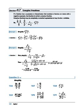 Algebra I: Section 47: Complex Fractions