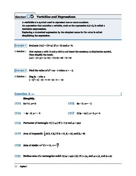 Algebra I: Section 5: Variables and Expressions