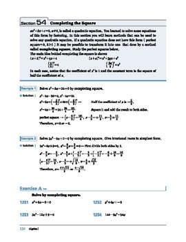 Algebra I: Section 54: Completing the Square