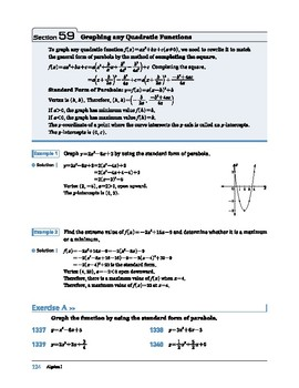 Algebra I: Section 59: Graphing any Quadratic Functions