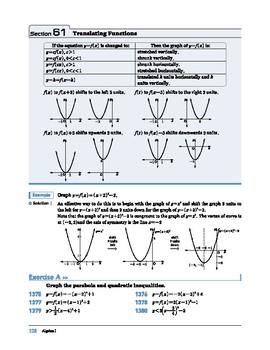 Algebra I: Section 61: Translating Functions