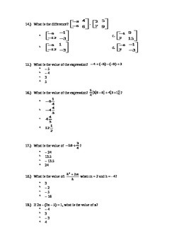 Algebra I Semester 1 Final Exam