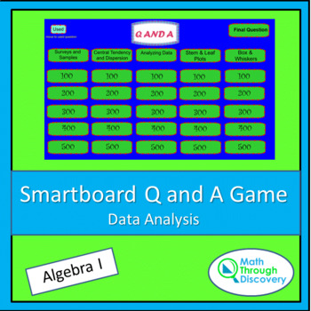 Algebra I Smartboard Q and A Game - Data Analysis