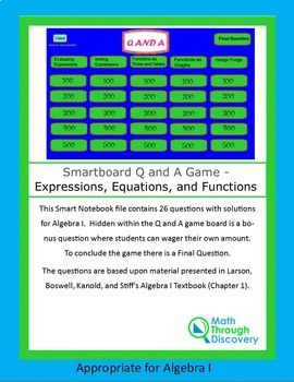 Algebra I: Smartboard Q and A Game - Expressions, Equations, and Functions