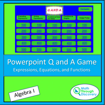 Smartboard Q and A Game - Expressions, Equations, and Functions