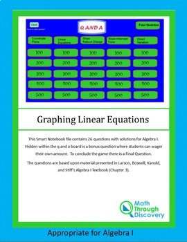 Algebra I: Smartboard Q and A Game - Graphing Linear Equations and Functions