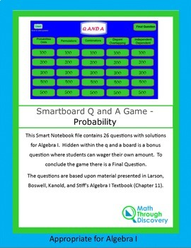 Algebra I: Smartboard Q and A Game - Probability