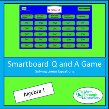 Smartboard Q and A Game - Solving Linear Equations