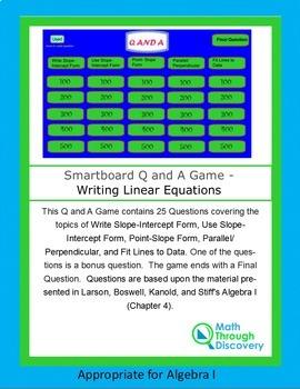 Algebra I Smartboard Q and A Game - Writing Linear Equations