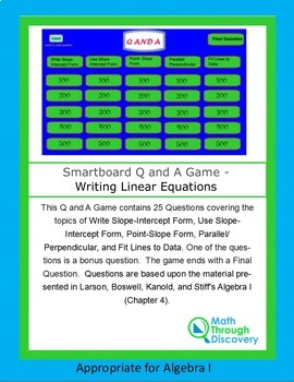 Smartboard Q and A Game - Writing Linear Equations