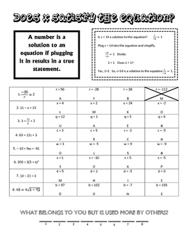 Algebra I - Solution to Equations Riddle