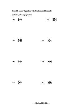 Algebra I - Solving Equations with Fractions and Decimals Review Sheet