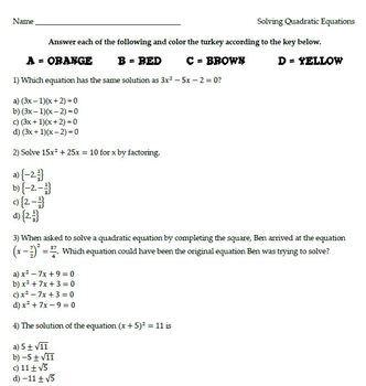Algebra I - Solving Quadratic Equations Turkey Coloring Activity