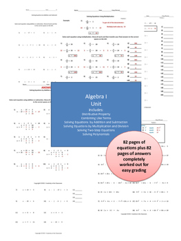 Algebra I Solving Equations