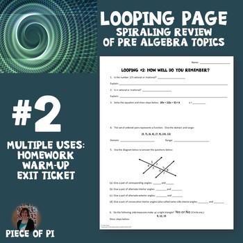 Algebra 1 Spiraling Page Review Homework #2 Many Uses