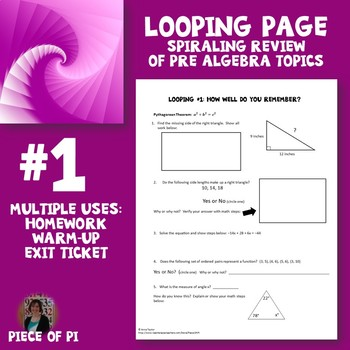 Algebra 1 Spiraling Page Review Homework Many Uses!