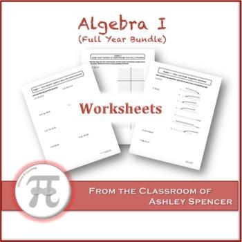Algebra I Worksheets - Full Year Bundle