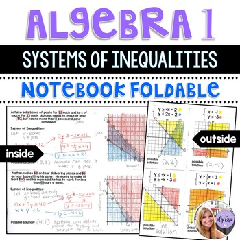 Algebra 1 - Graphing and Writing Systems of Inequalities - Foldable
