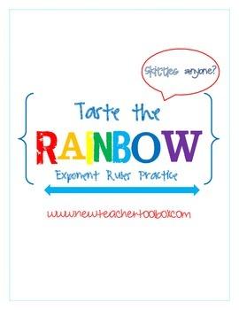 Algebra I - Taste the Rainbow - Exponent Rules Practice