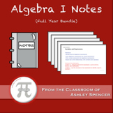 Algebra I Lecture Notes and Notebooks - Full Year Bundle