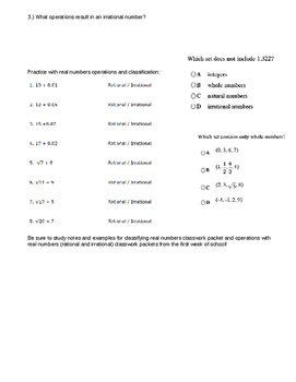 Algebra I Unit 1 Study Guide
