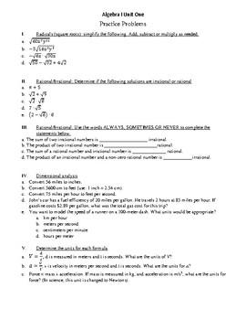 Algebra I Unit 1 Summary and Review