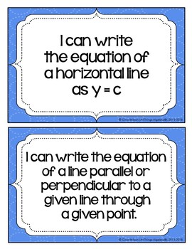 "2016 Algebra 1 Virginia SOL:  ""I Can"" Statements"