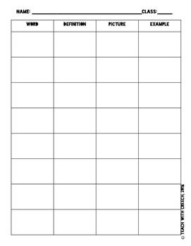 Algebra I Vocabulary Worksheets and Activities
