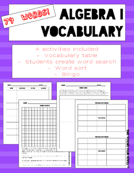 Algebra I Vocabulary Worksheets and Activities