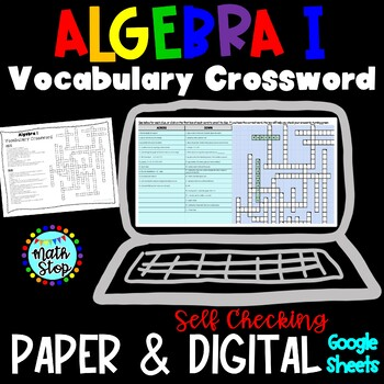 Algebra I Vocabulary Crossword End of Year Review