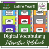 Algebra I WHOLE YEAR Digital Vocabulary Interactive Notebook | Google Slides™